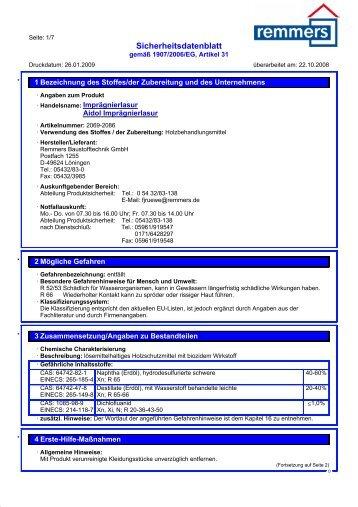 Sicherheitsdatenblatt - K+P Holz-Shop