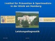 Vortrag von Dr. med. Dr. sport.wiss. H. H. - Gesundheitstipps