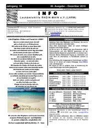 Dezember 2010 INFO - Leukämiehilfe RHEIN-MAIN geV
