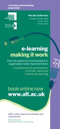 e-learning making it work - Association for Learning Technology