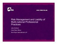 Risk Management and Liability of Multi-national Professional Practices