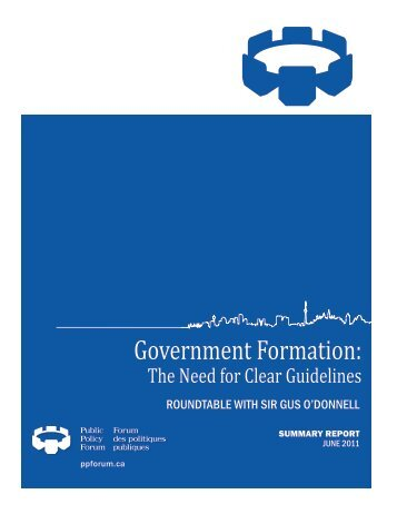 Government Formation: - Public Policy Forum