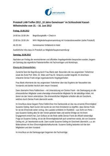 """Protokoll LAM-Treffen 2012 """"10 Jahre Gemeinsam"""" im ... - LAM-Verein"""