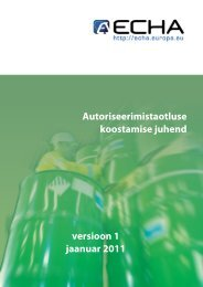 Autoriseerimistaotluse koostamise juhend - ECHA - Europa