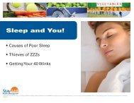 Sleep and You! - Wellness