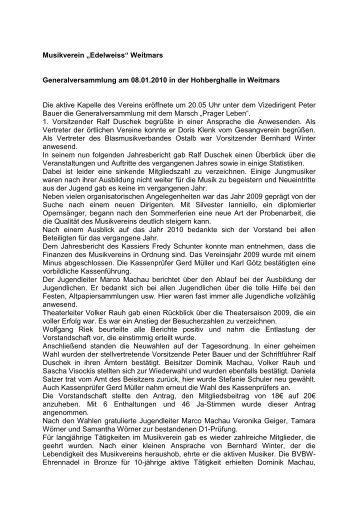 Bericht Generalversammlung - Musikverein Weitmars