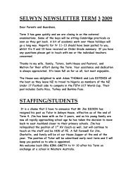 SELWYN NEWSLETTER TERM 3 2009 STAFFING/STUDENTS