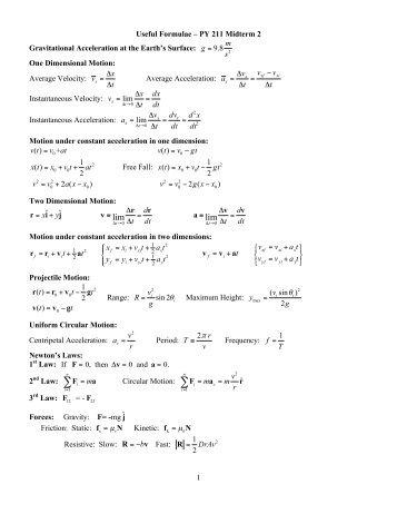 Formula Sheet - Final Exam