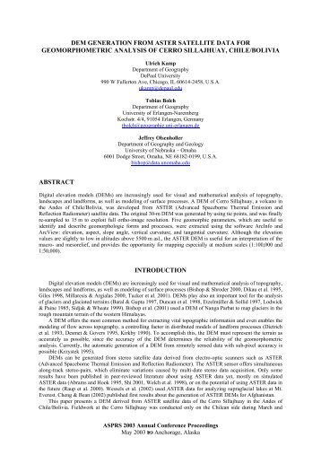 The Aster Dem Generation For Geomorphometric Analysis Of AARS - Aster dem data
