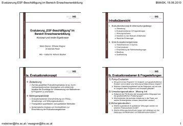 Präsentation von Konzept und ersten Ergebnissen - equi am IHS