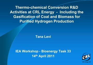 Thermo-chemical Conversion R&D Activities at CRL Energy - Wood ...