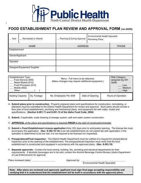 Food Establishment Plan Review And Approval Form - Public