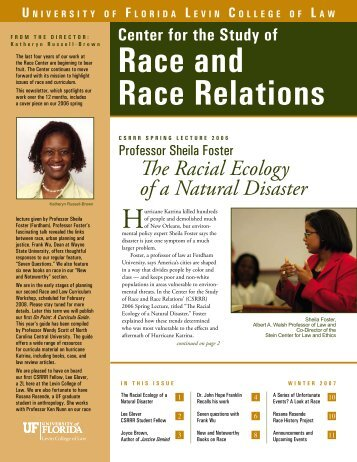 Race and Race Relations - Levin College of Law - University of Florida