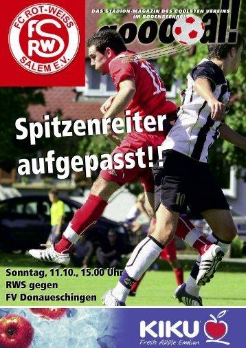 Sonntag, 11.10., 15.00 Uhr RWS gegen FV Donaueschingen ...