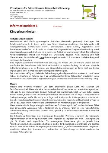Informationsblatt 6 Kinderkrankheiten