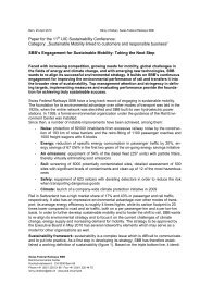 SBB's Engagement for Sustainable Mobility: Taking the Next Step