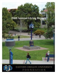2008 Annual Giving Report - Eastern Oregon University