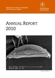annual report - Institutionen för naturgeografi och kvartärgeologi ...