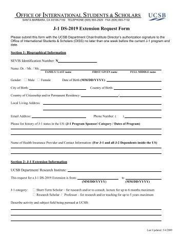 Application for I-20 or DS 2019 Form - International Programs