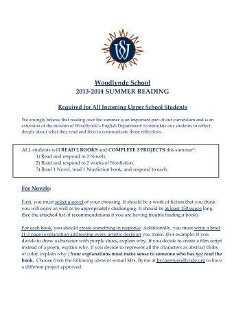 Woodlynde School 2013-2014 SUMMER READING