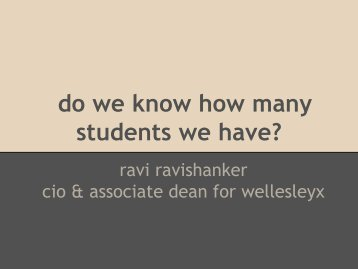 2. Ravi Ravishanker - Wellesley College - NERCOMP