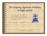 Developing Algebraic Thinking in High School - Education ...