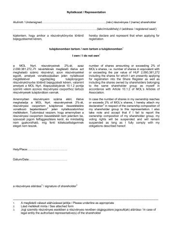 Nyilatkozat / Representation Alulírott / Undersigned ...