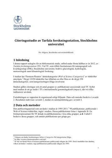 Citeringsstudie av Tarfala forskningsstation, Stockholms universitet