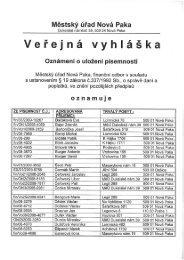 Veřejná vyhláška - Nová Paka