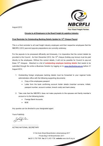 Final Reminder for Outstanding Banking Details ... - nbcrfli.org.za