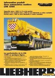Information produit Grue automotrice routière LTM 1500