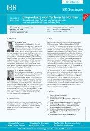Bauprodukte und Technische Normen - ibr-online