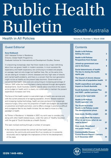 Public Health Bulletin South Australia Vol 5, No. 1, March 2008