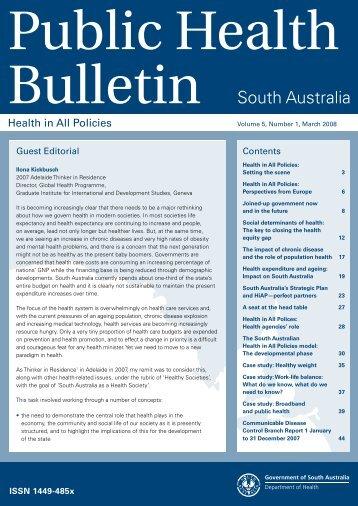 Public Health Bulletin South Australia Vol 5, No. 1, March 2008