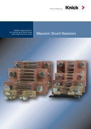 Maconic Shunt Resistors - Knick USA