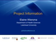 Project Overview - Quality Palliative Care in Long Term Care