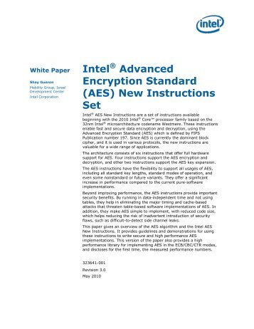 Intel® data protection technology with aes-ni and secure key.