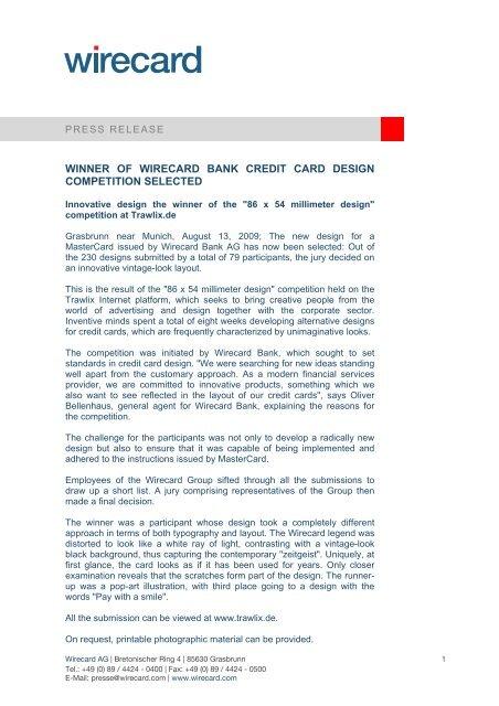 Apart Design Bank.Winner Of Wirecard Bank Credit Card Design