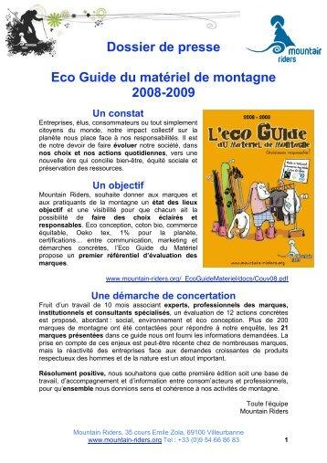 Dossier de presse Eco Guide du matériel de ... - Mountain Riders