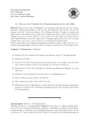 11. ¨Ubung zur Vorlesung Programmierung II, SS 2003