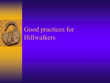 Good practices for Hillwalkers