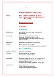 Katharinenplaisir, Backnang Baubeschreibung - Klink-HAUS GmbH