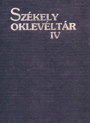 Székely Oklevéltár 4. - MEK