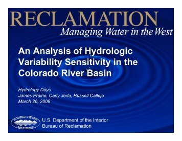 An Analysis of Hydrologic Variability Sensitivity in the Colorado ...