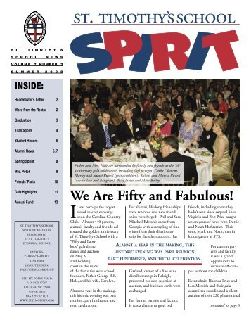 Summer 2008 Spirit Newsletter - St. Timothy's School