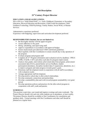 Project Director Job Description  Year One Consulting