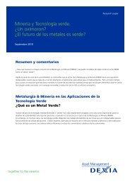 El futuro de los metales es verde? - Dexia Asset Management