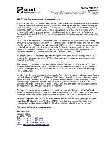 press release - smart clarifies statements in ... - PT SMART Tbk