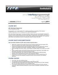Interface Programming 1 - Syllabus - KCC New Media Arts