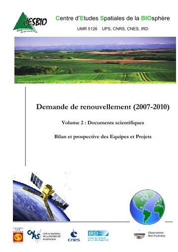 Demande de renouvellement (2007-2010) - Cesbio